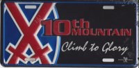 10th Mountain Climb To Glory Metal License Plate