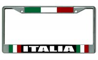 Italia With Flag Chrome License Plate Frame