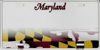 Maryland State Background Metal License Plate