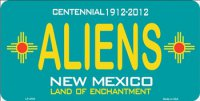 New Mexico Centennial Aliens License Plate