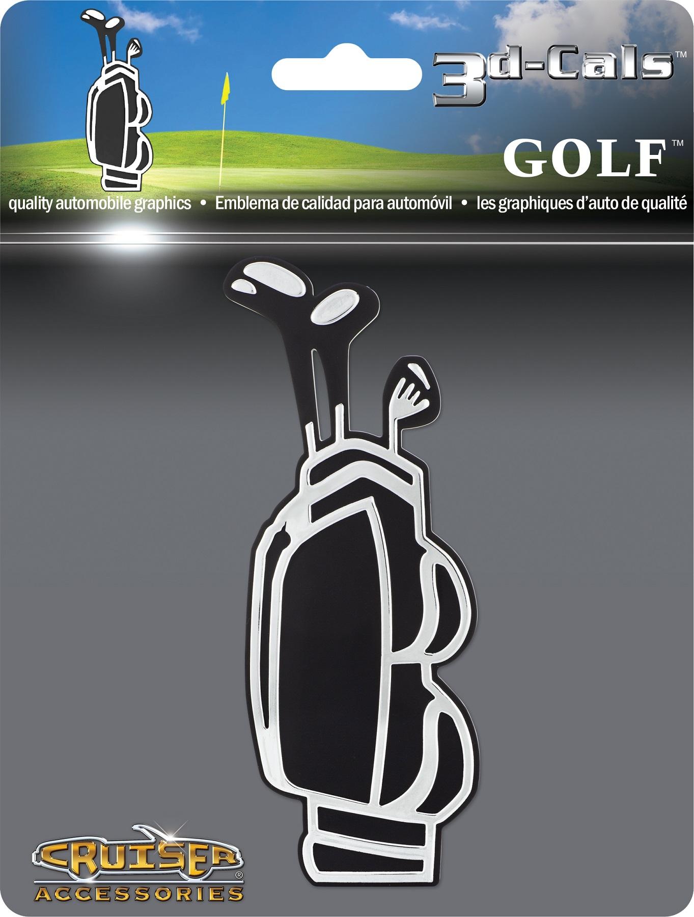 GOLF CLUB Bag Chrome Auto Emblem