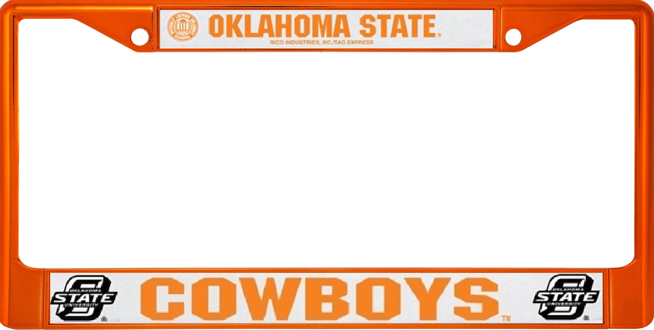 Oklahoma State Cowboys Anodized Orange License Plate Frame Oklahoma ...