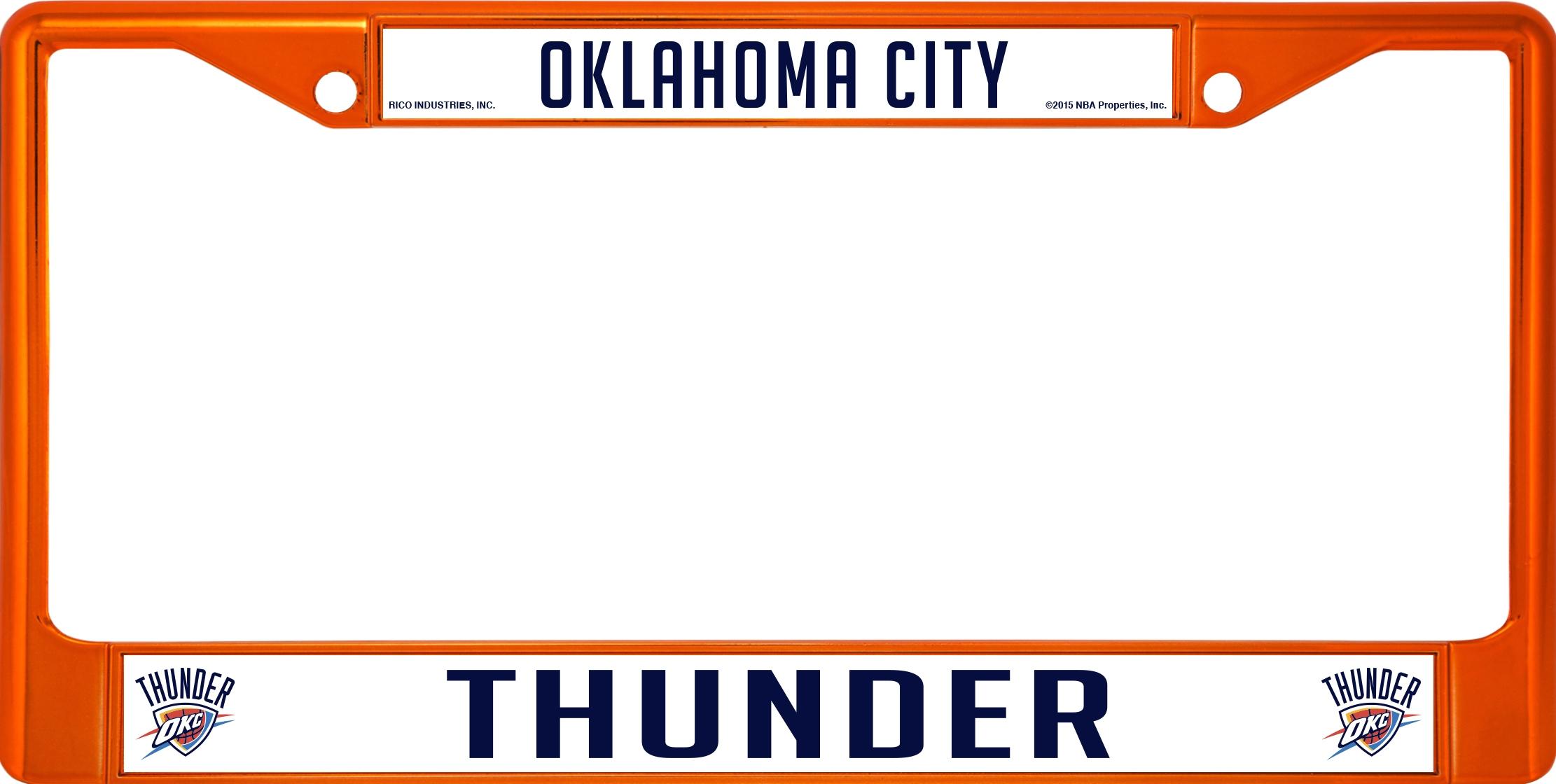 Oklahoma City Thunder Anodized Orange License Plate Frame Oklahoma ...