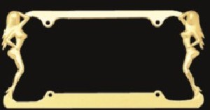 Twin Ladies Gold License Plate Frame