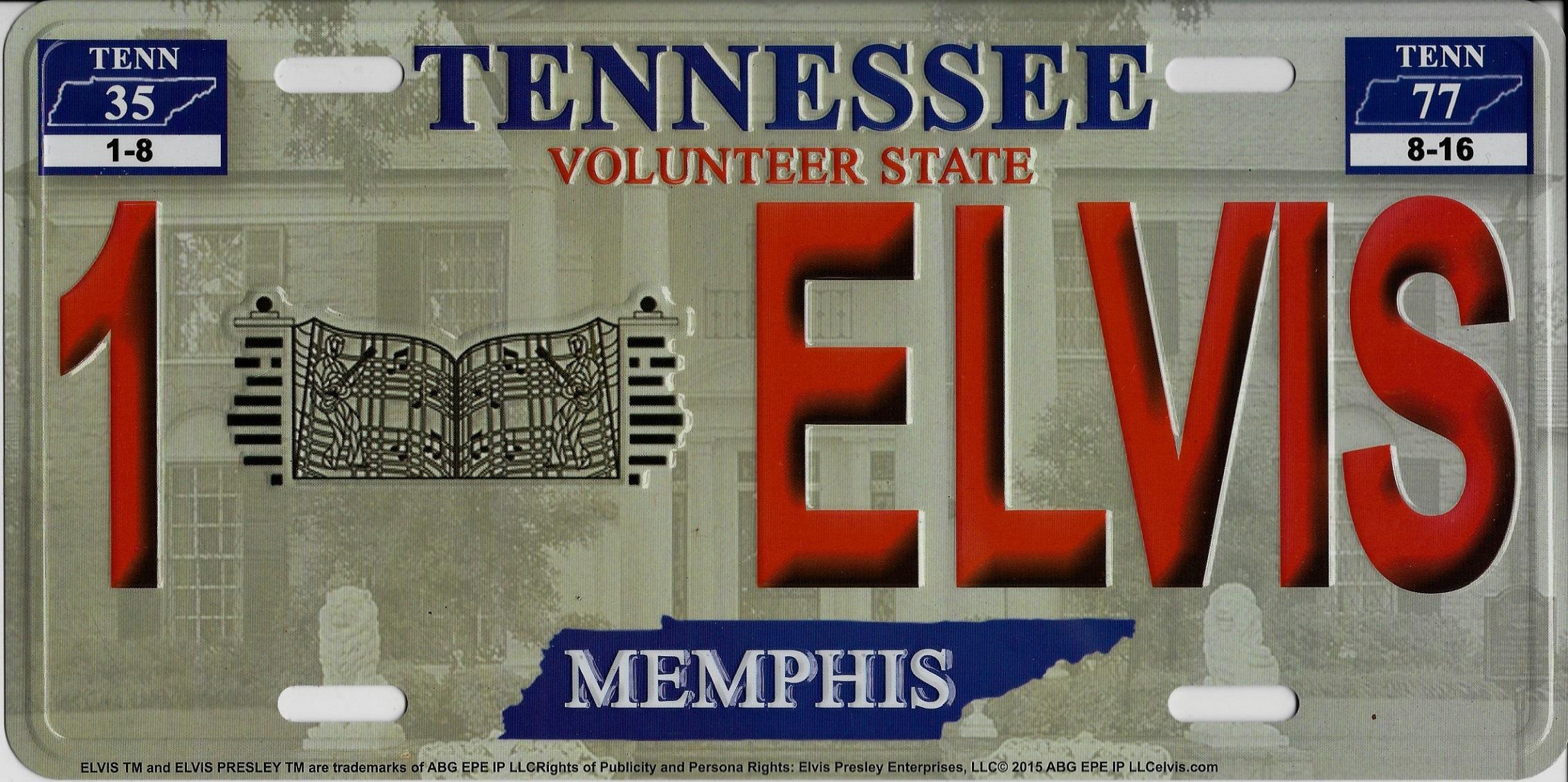 Tennessee 1 Elvis Look A Like Embossed Metal License Plate Tennessee ...