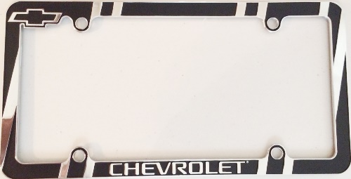 Chevrolet Chrome And Black License Plate Frame Chevrolet Chrome And ...