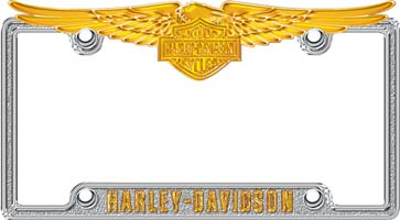 cg6065 silver gold harley davidson eagle license plate frame cg6065 larger image
