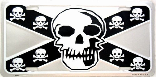 Silver Skull on Black License Plate