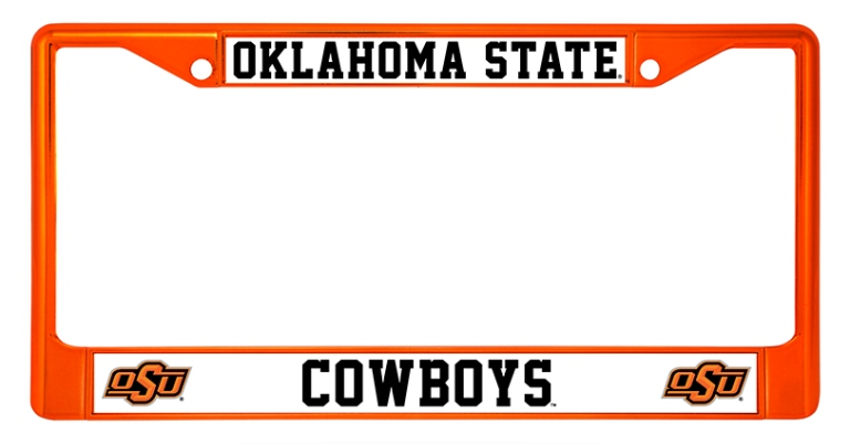 Oklahoma State Cowboys Anodized Orange License Plate Frame Oklahoma ...