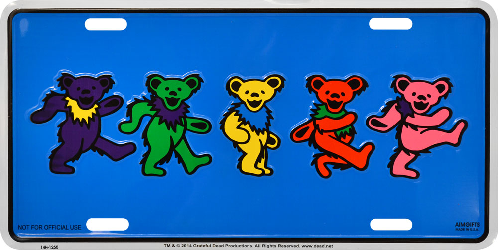 GRATEFUL DEAD Dancing Bears Metal License Plate