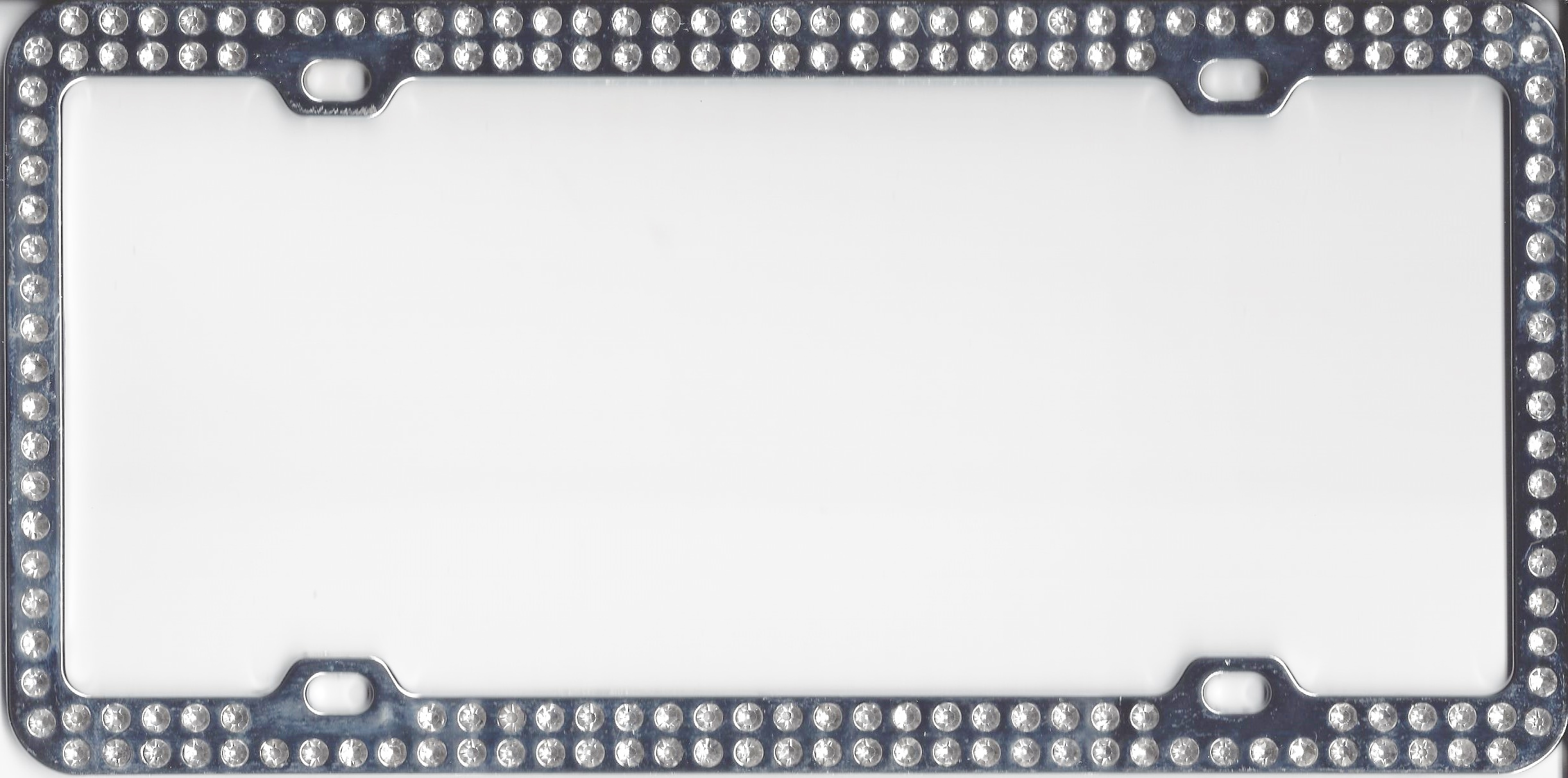 Chrome With Double Rows of Diamond License Plate Frame  sc 1 st  Auto License Plates and Frames & Chrome With Double Rows of Diamond License Plate Frame Chrome With ...