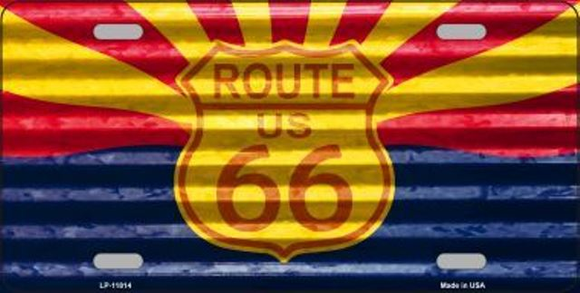 ROUTE 66 Arizona Flag Corrugated Metal License Plate