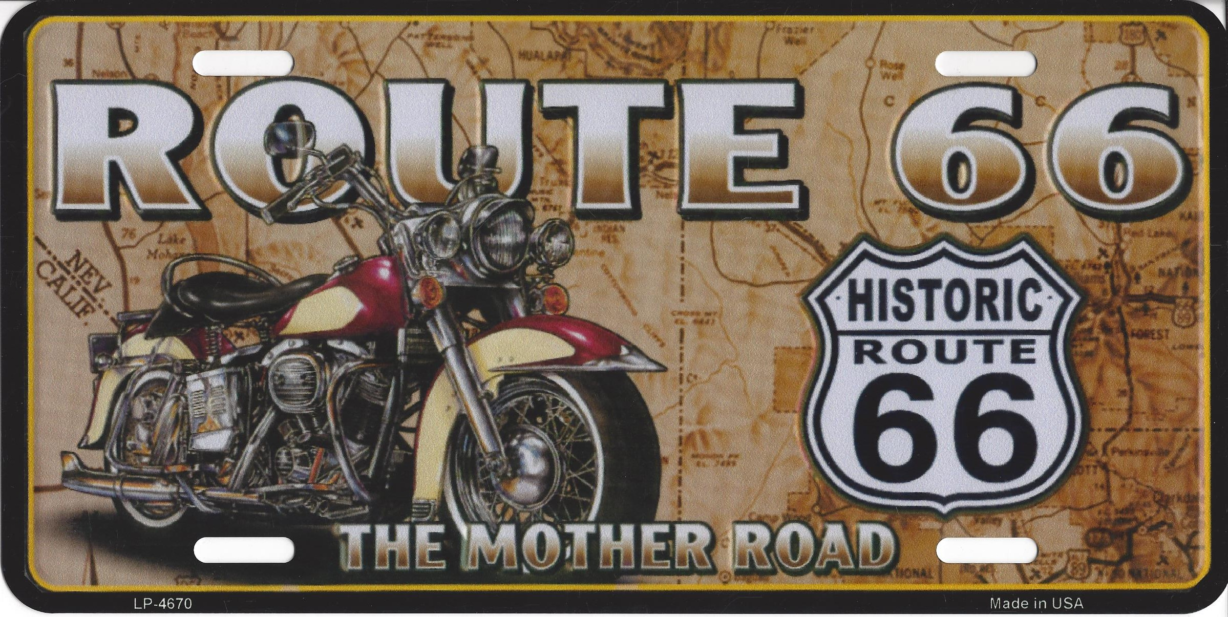 ROUTE 66 With Motorcycle License Plate