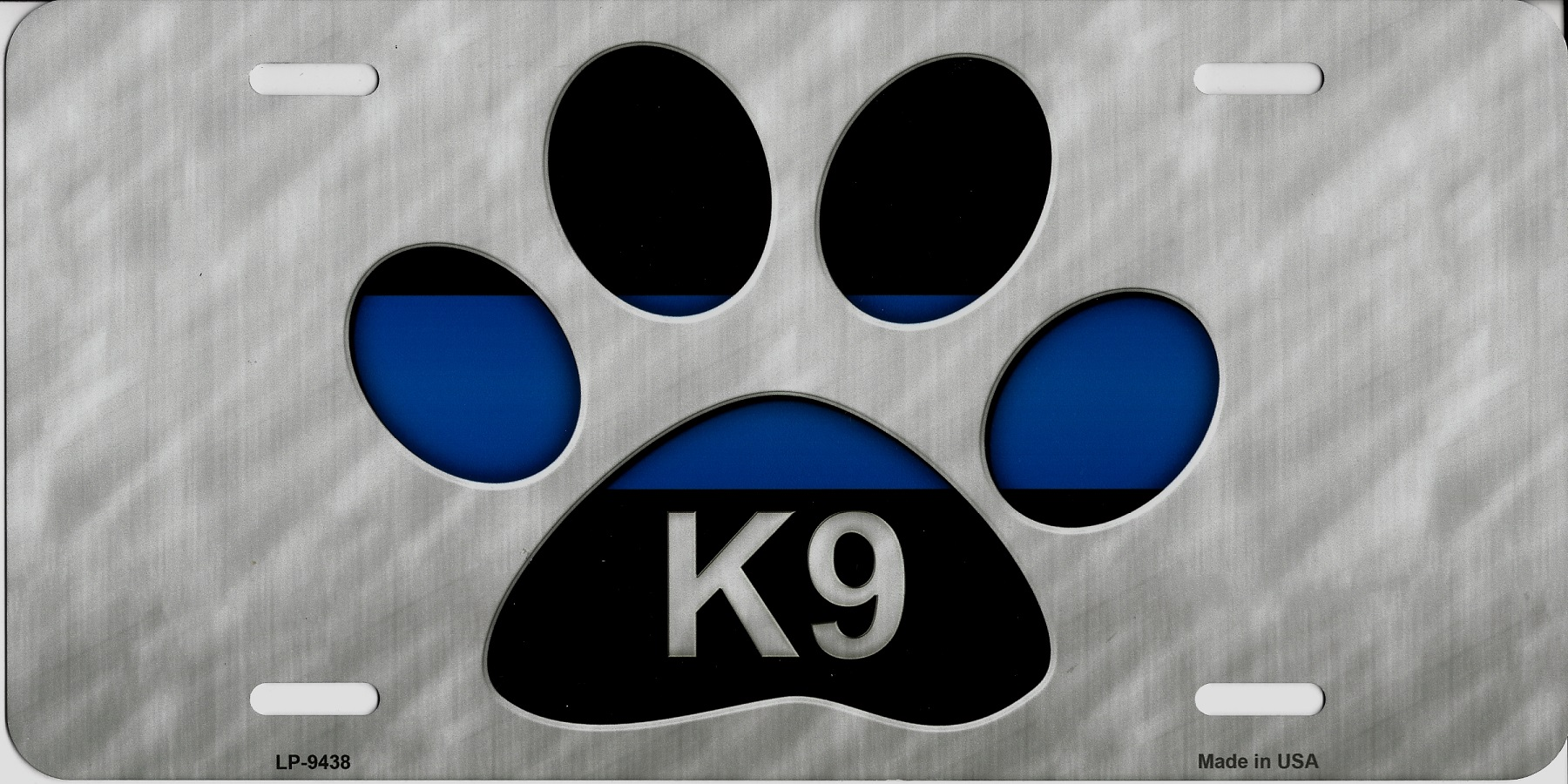 Police Thin Blue Line K9 Paw Print Metal License Plate Police Thin ...