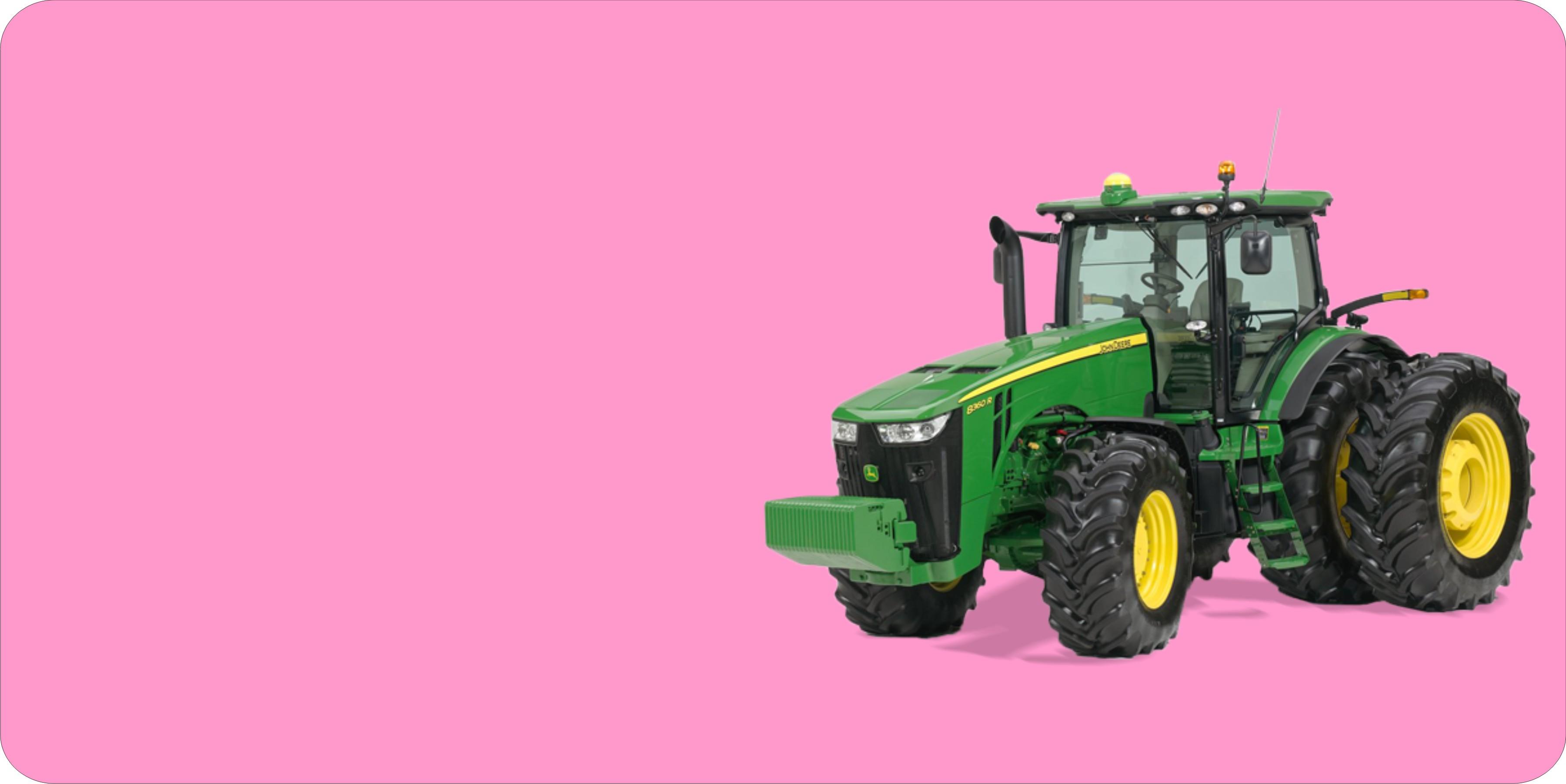 JOHN DEERE Tractor Offset On Pink Plate