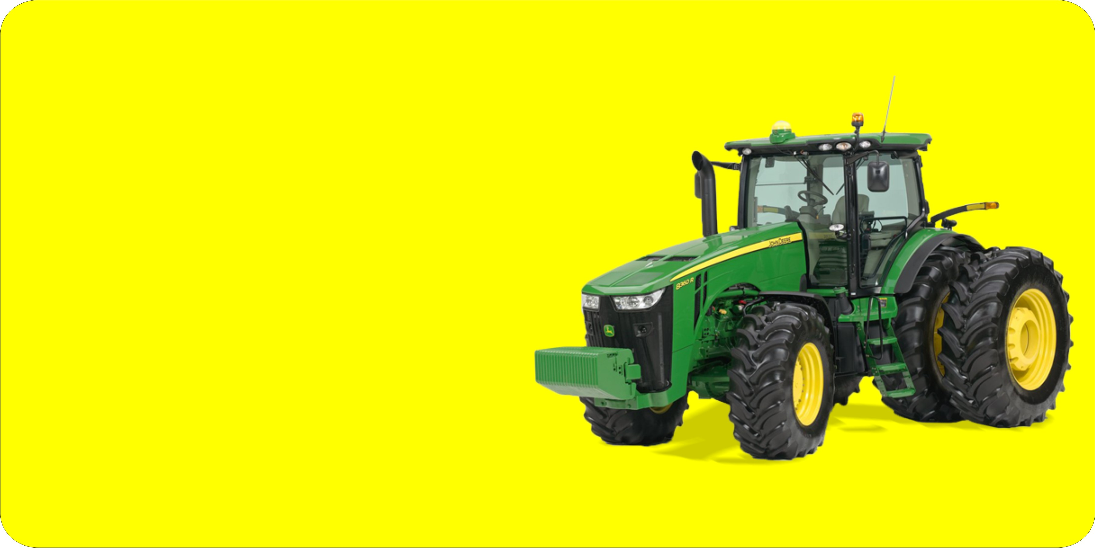 JOHN DEERE Tractor Offset On Yellow Plate