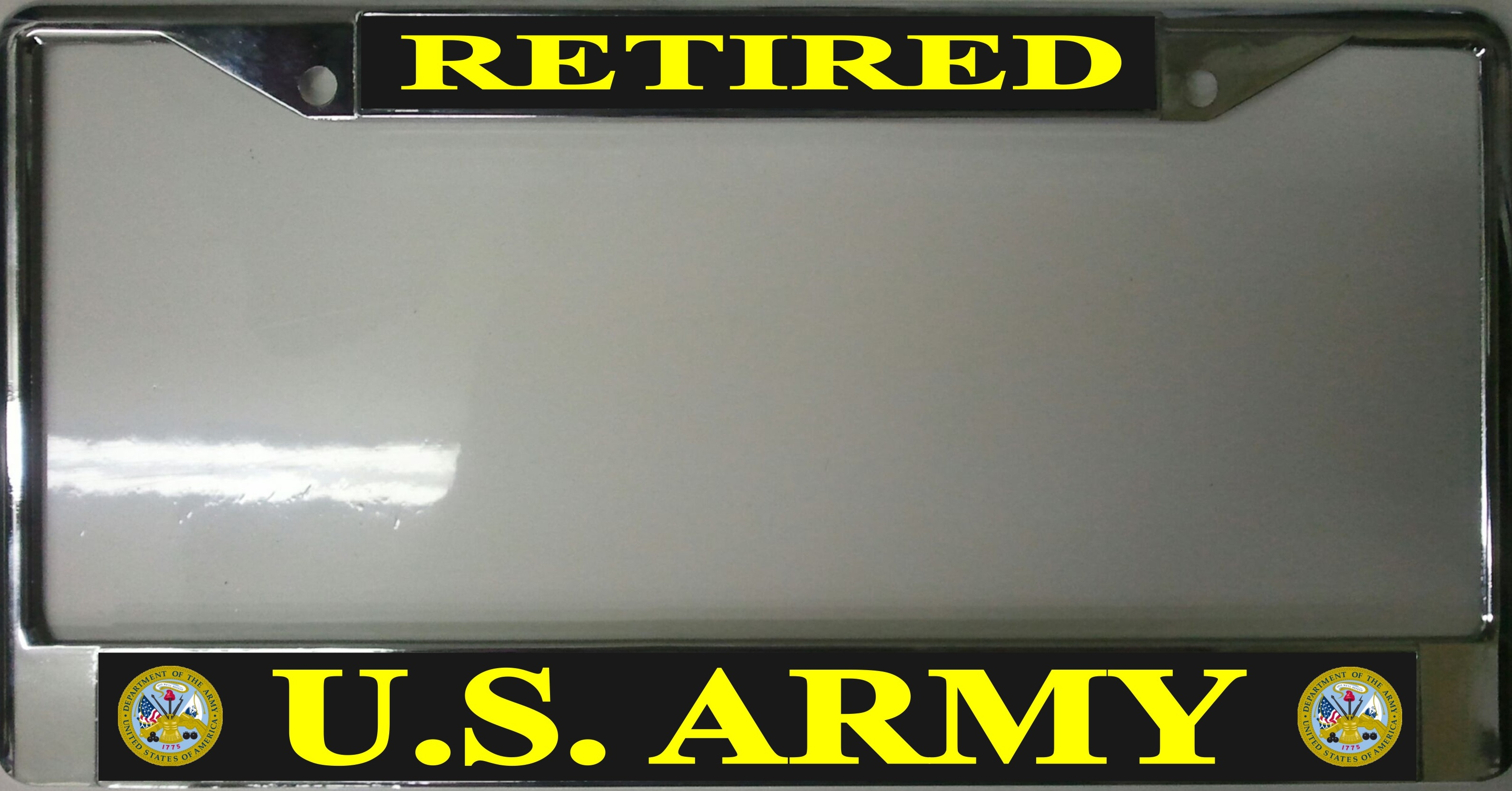 U.S. ARMY Retired Photo License Plate Frame   Free Screw CAPs with this Frame