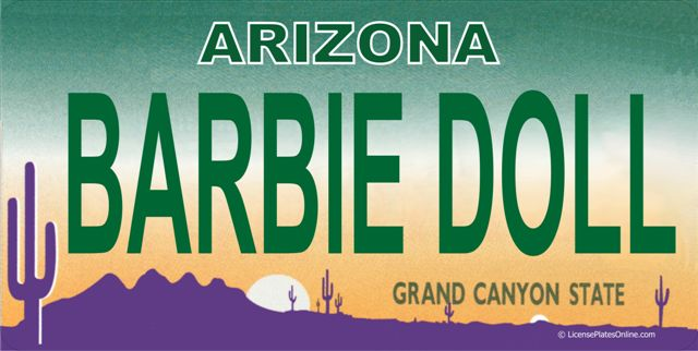 Arizona BARBIE DOLL Photo License Plate  Free Personalization on this Plate