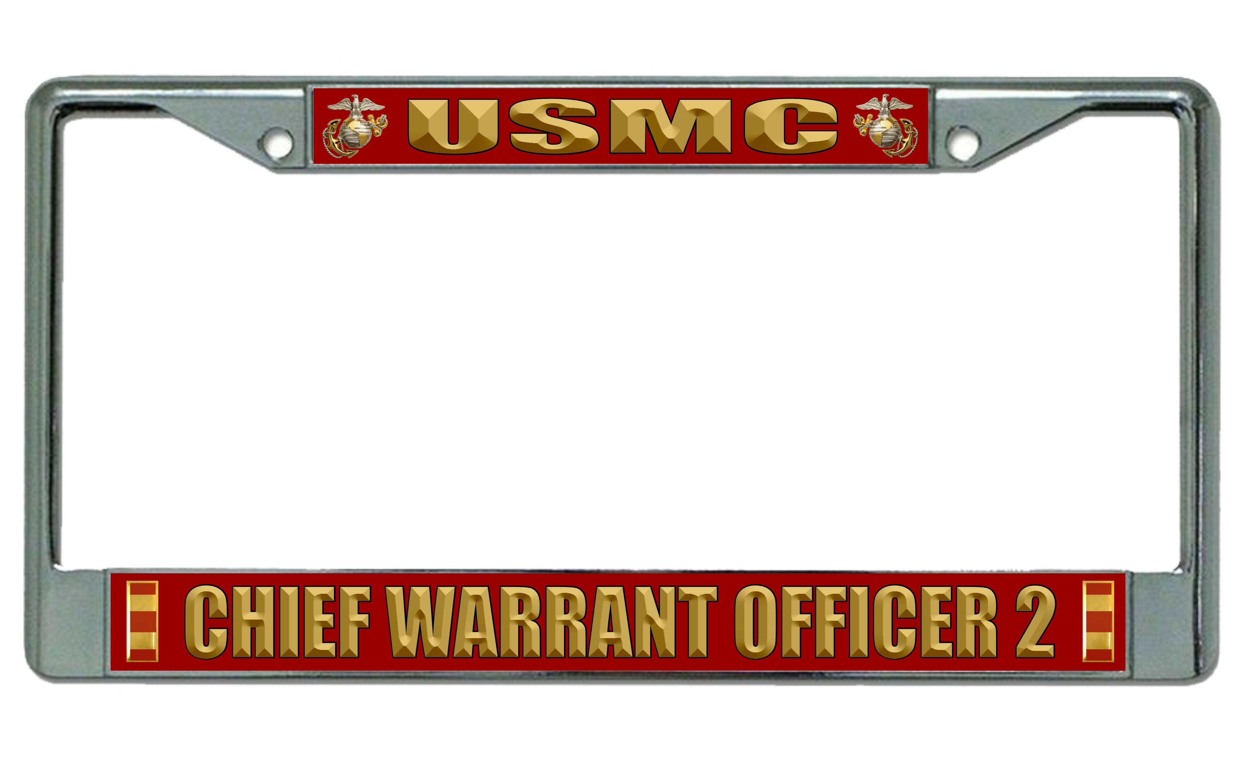 USMC Chief Warrant Officer 2 Chrome License Plate Frame USMC Chief ...