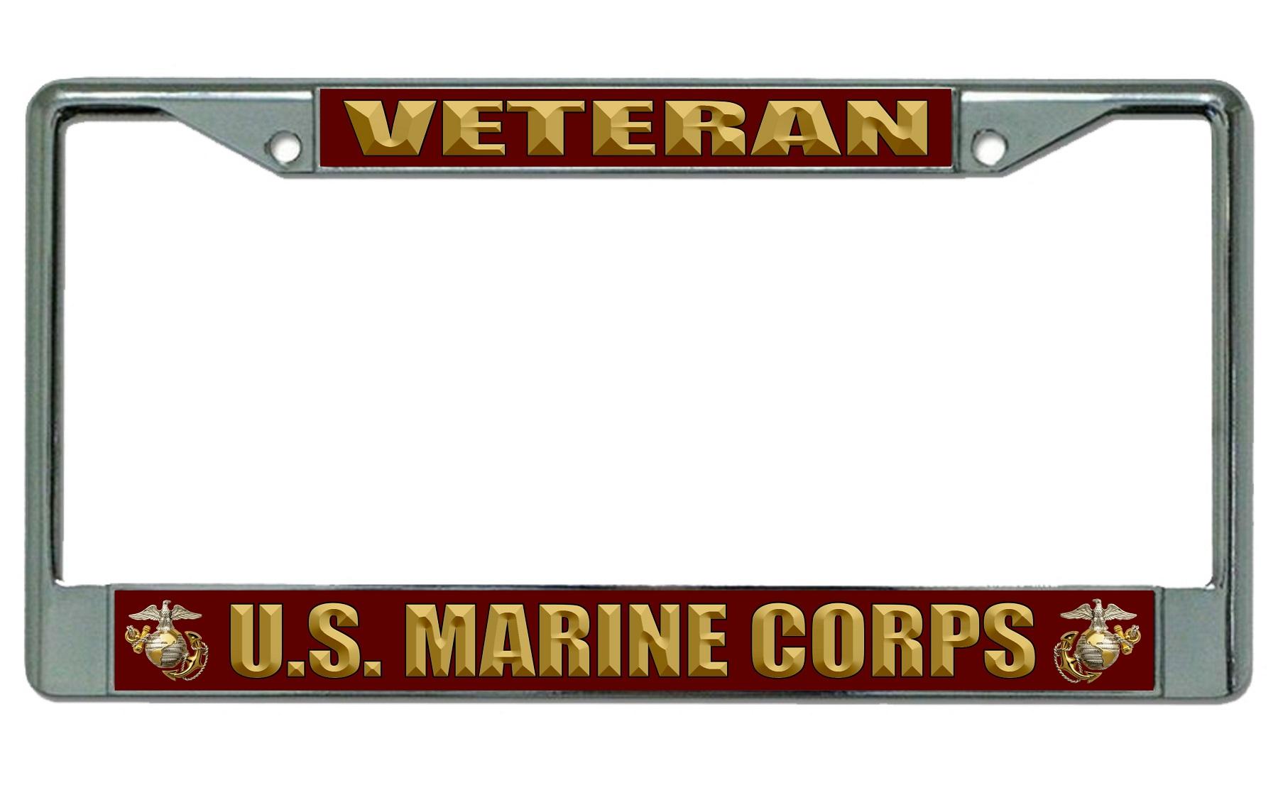 U.S. Marine Corps Veteran Chrome License Plate Frame U.S. Marines ...
