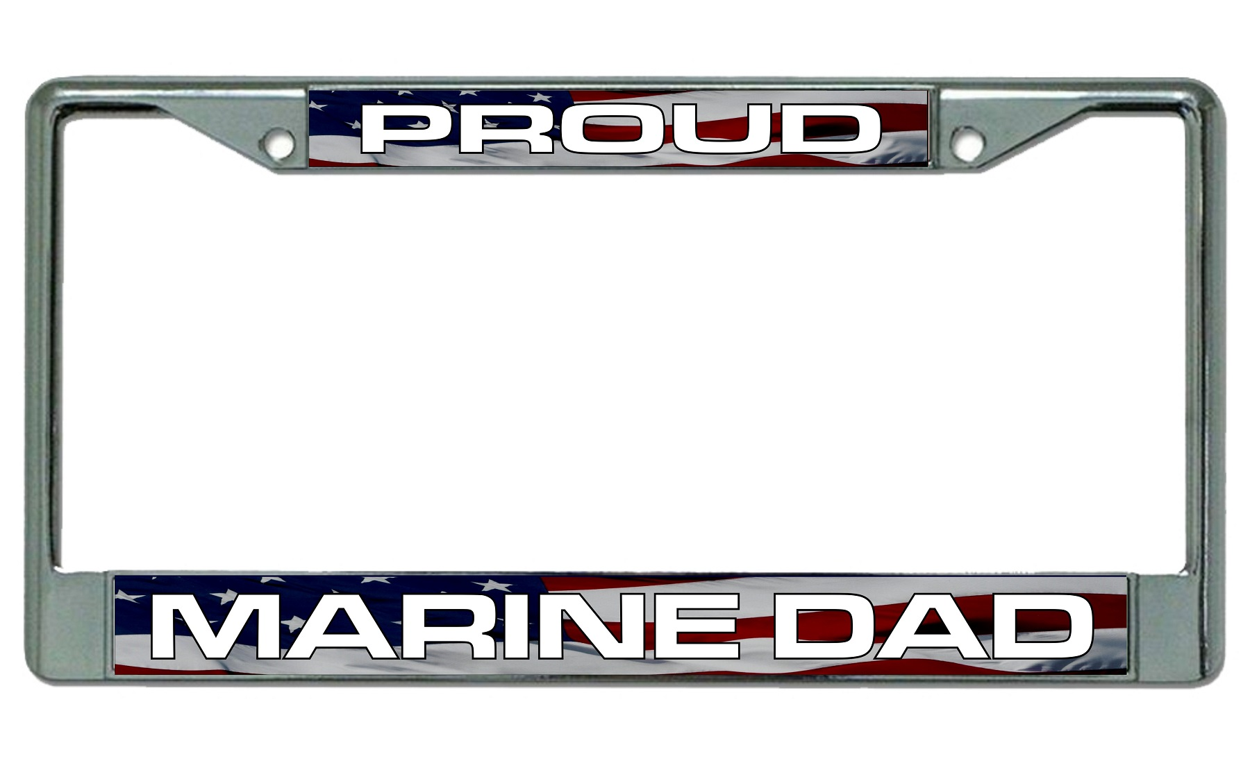 Proud Marine Dad Chrome License Plate Frame Proud Marine Dad Chrome ...