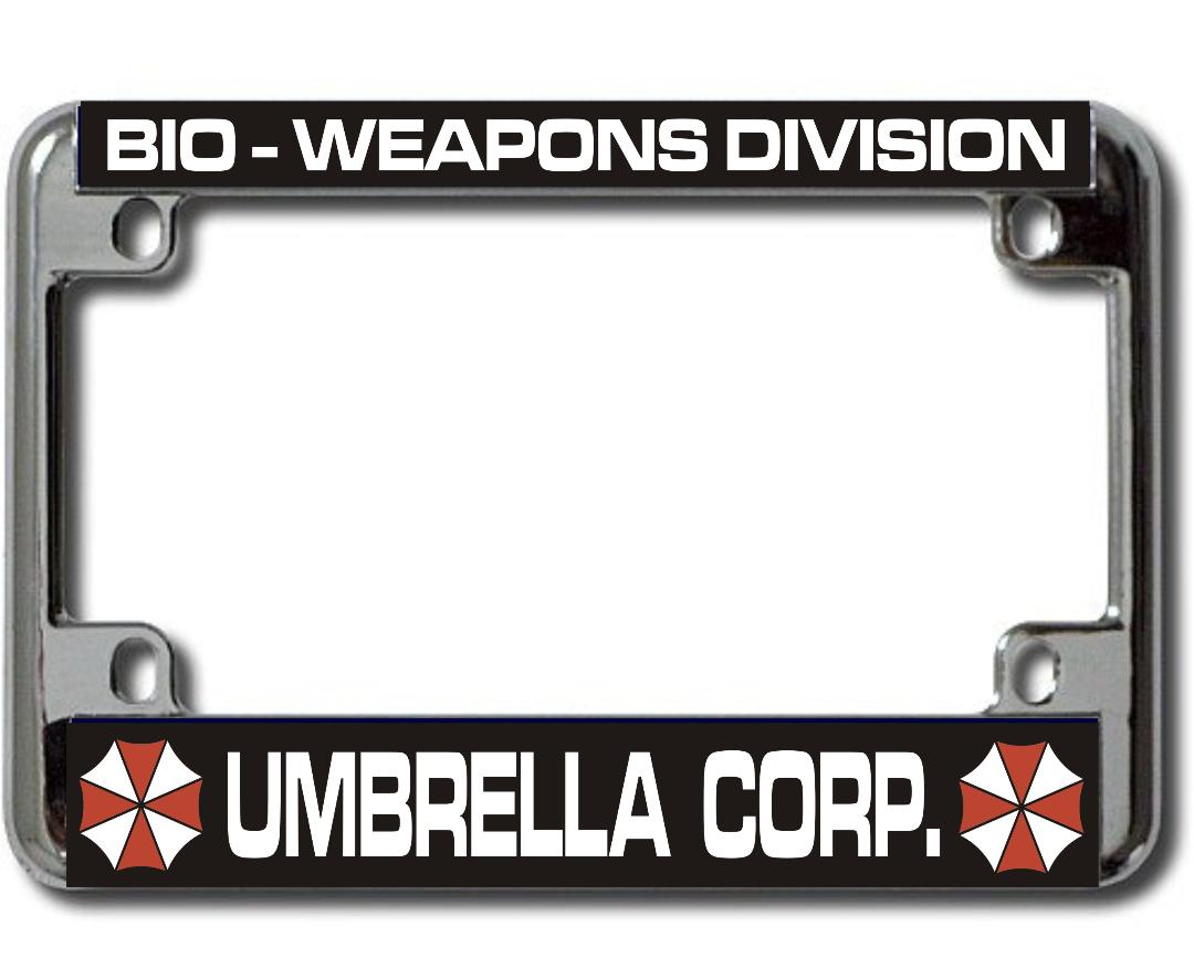 UMBRELLA Corp Bio Weapons Chrome Motorcycle License Plate Frame