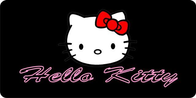 HELLO KITTY On Black License Plate