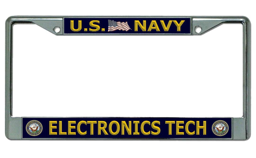 U.S. Navy ELECTRONICS Tech Chrome License Plate Frame