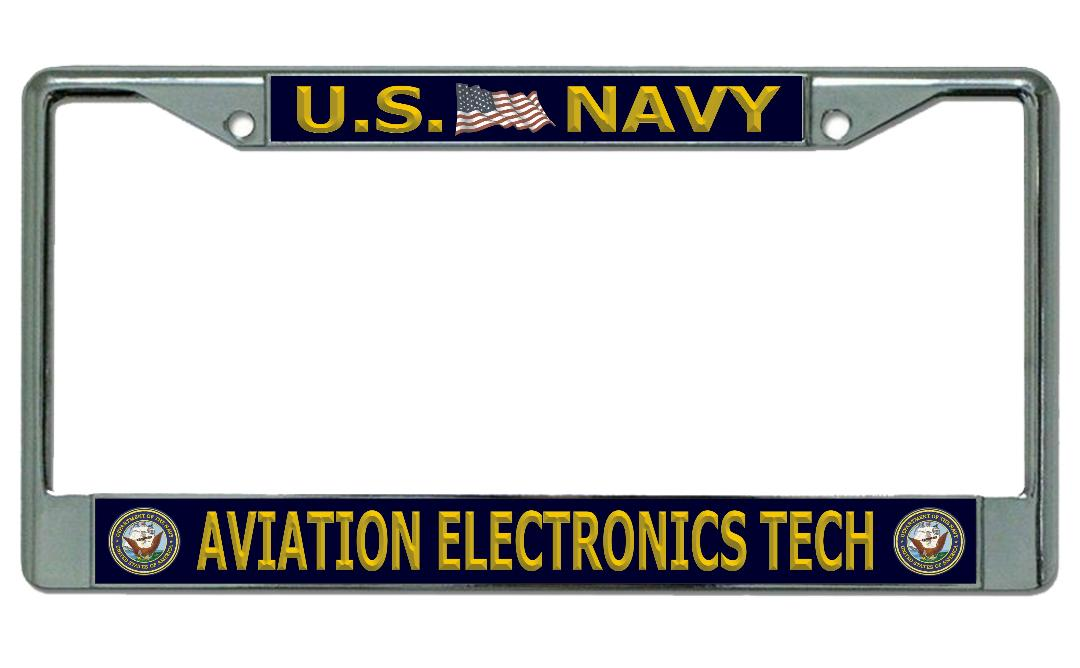 U.S. Navy Aviation ELECTRONICS Tech Chrome License Plate Frame