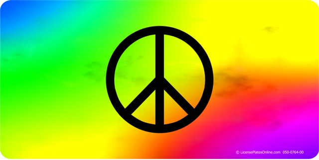 Peace On TIE DYE Photo License Plate