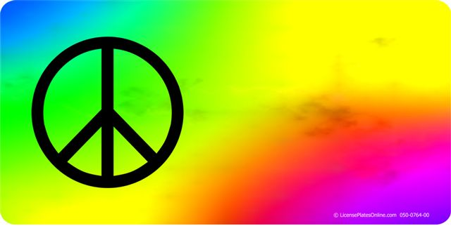 Peace Offset On TIE DYE Photo License Plate  Free Personalization on this plate