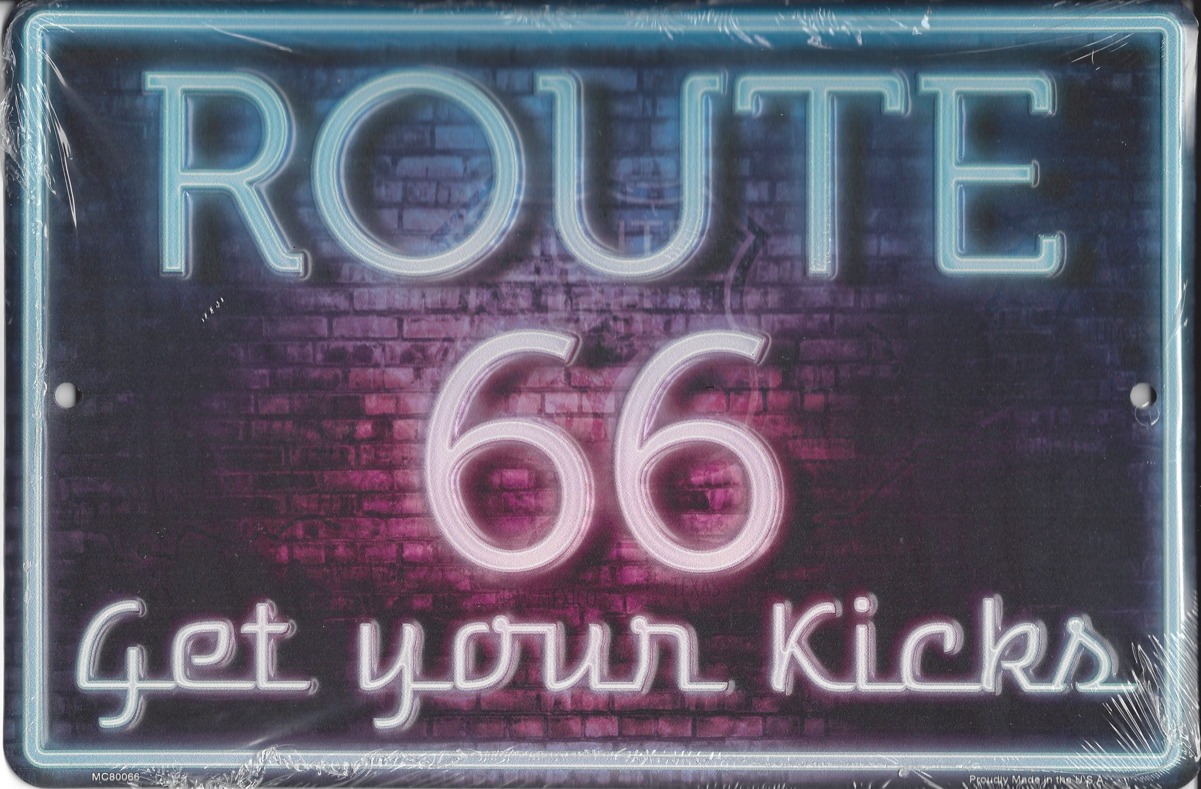 ROUTE 66 Neon Metal Parking Sign