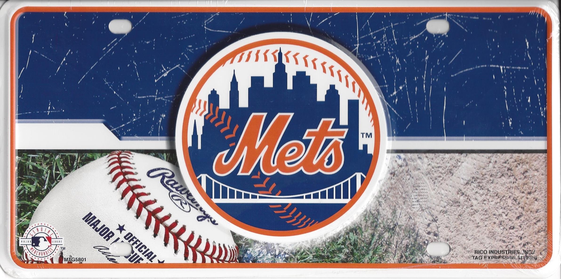 NEW York Mets Metal License Plate
