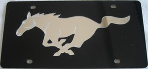 Ford Mustang Black Laser License Plate