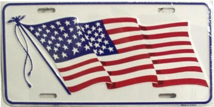 Dixie American Waving Flag (White) License Plate at Sears.com