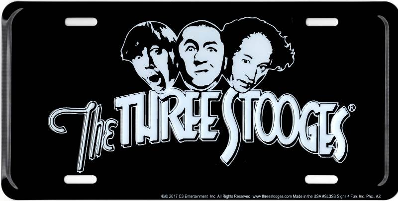 The Three Stooges On Black Metal License Plate