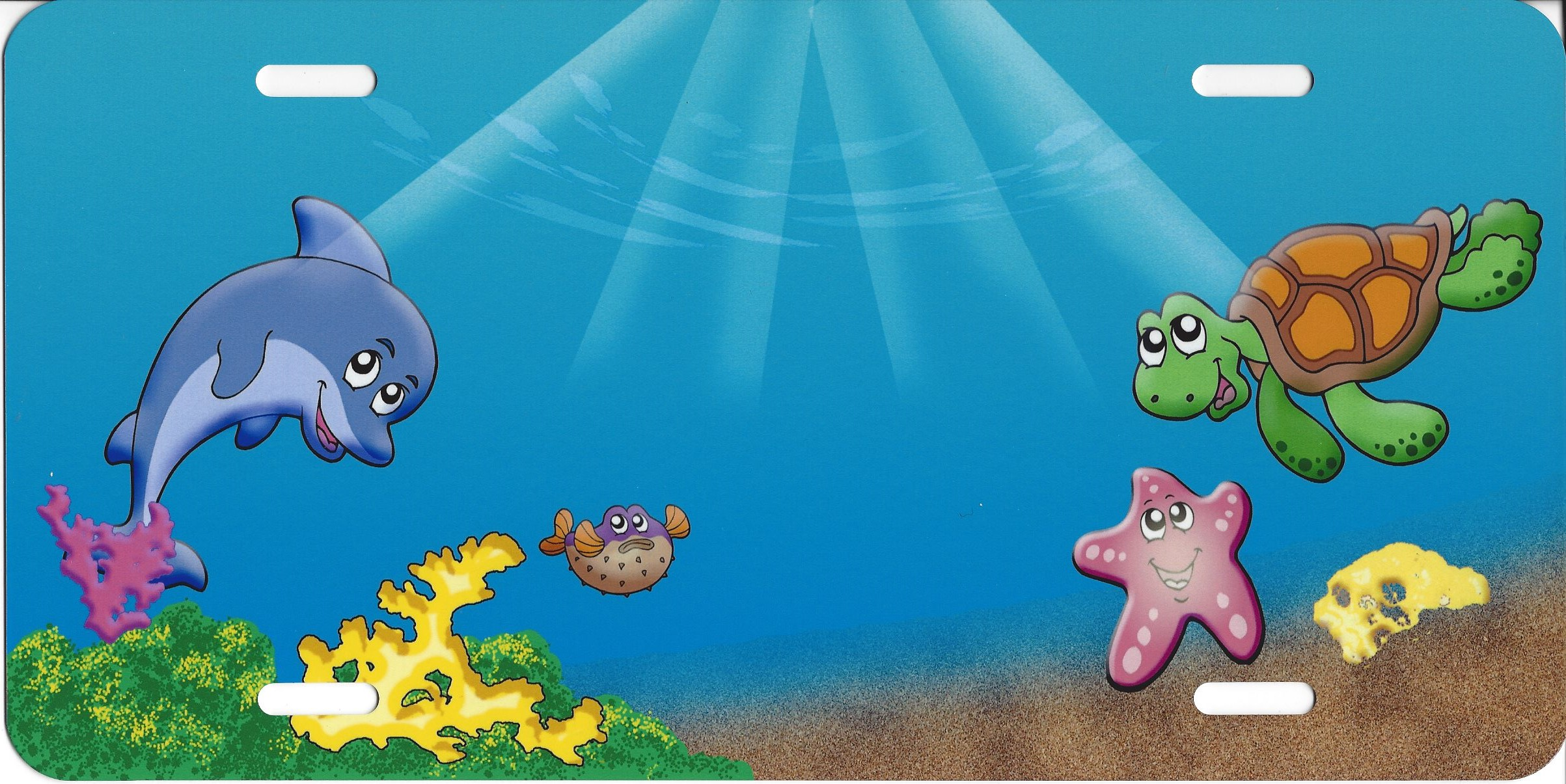 cartoon ocean scene license plate sm691 ebay rh ebay ca Cartoon Kitchen Scene cartoon ocean scenery