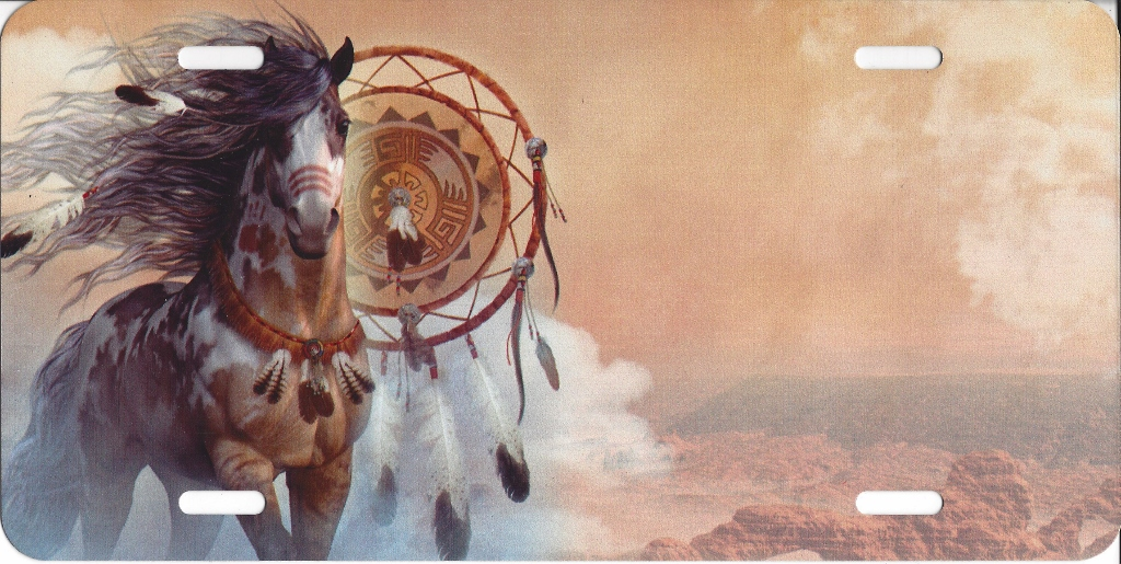 Offset Horse With DREAM CATCHER License Plate Free Names on this Plate