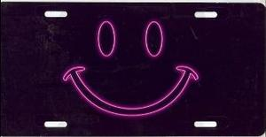 Neon Pink Smiley Face License Plate T3070nr 16 99