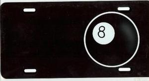 8 Ball on Black License Plate