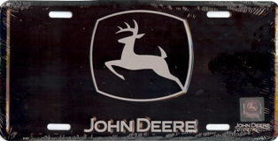 License Plate Shop John Deere-Silver on Black License Plate at Sears.com